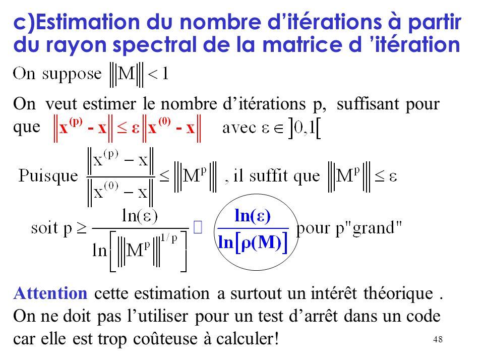 48 c)Estimation du nombre ditérations à partir du rayon spectral de la matrice d itération On veut estimer le nombre ditérations p, suffisant pour que