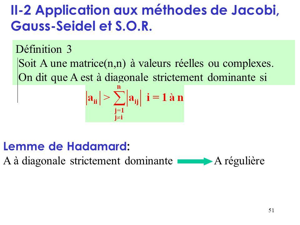 51 II-2 Application aux méthodes de Jacobi, Gauss-Seidel et S.O.R. Définition 3 Soit A une matrice(n,n) à valeurs réelles ou complexes. On dit que A e