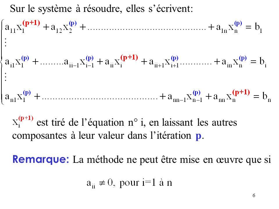 6 Sur le système à résoudre, elles sécrivent: est tiré de léquation n° i, en laissant les autres composantes à leur valeur dans litération p. Remarque