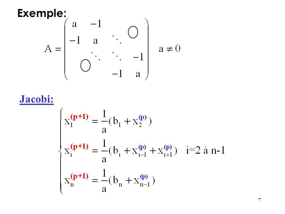 8 La programmation de méthode de Jacobi est simple: 2 tableaux unicolonnes X et Y suffisent pour simuler litération Dans le tableau Y, on stocke litéré (p+1) qui est calculé à partir du tableau X contenant litéré p.