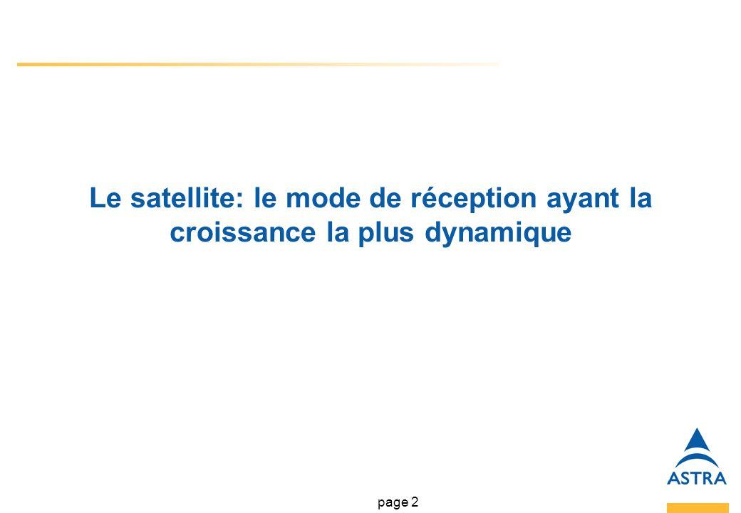 page 2 Le satellite: le mode de réception ayant la croissance la plus dynamique