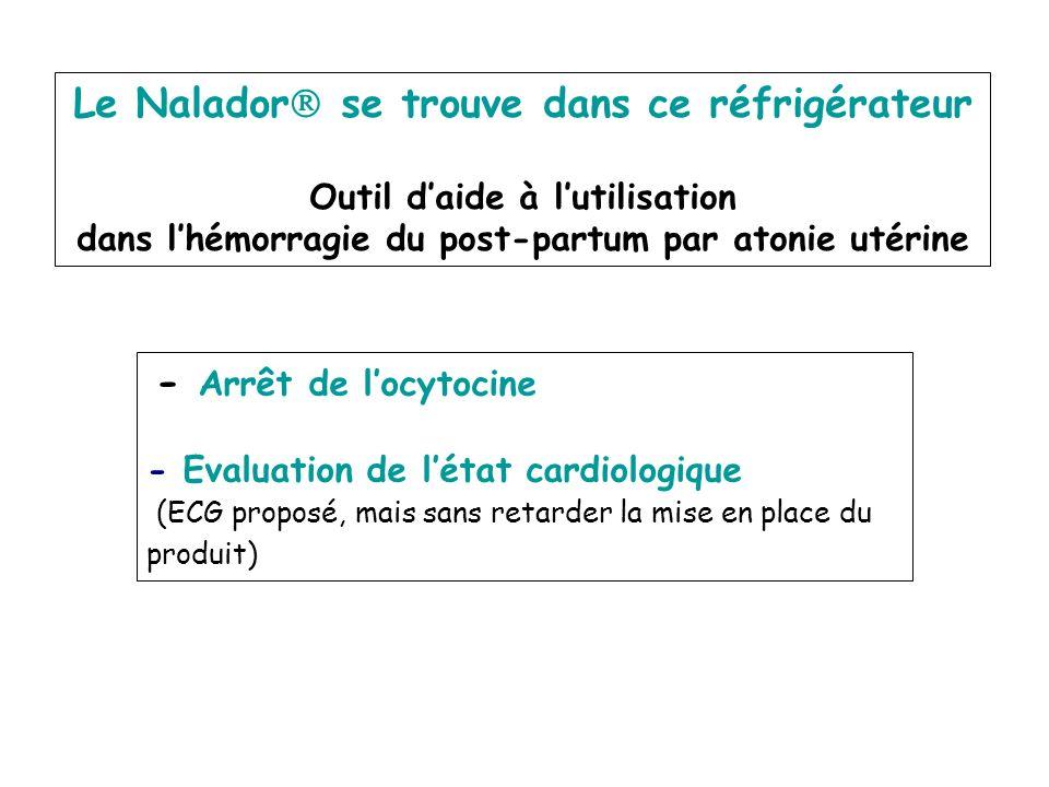 Le Nalador se trouve dans ce réfrigérateur Outil daide à lutilisation dans lhémorragie du post-partum par atonie utérine - Arrêt de locytocine - Evalu