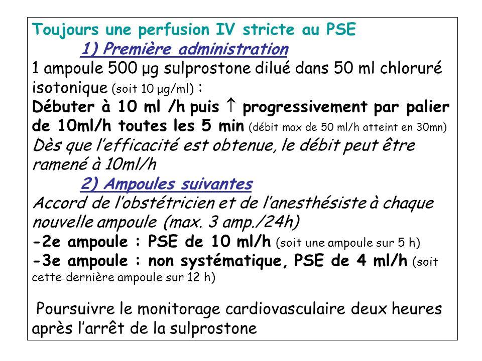 Toujours une perfusion IV stricte au PSE 1) Première administration 1 ampoule 500 μg sulprostone dilué dans 50 ml chloruré isotonique (soit 10 μg/ml)