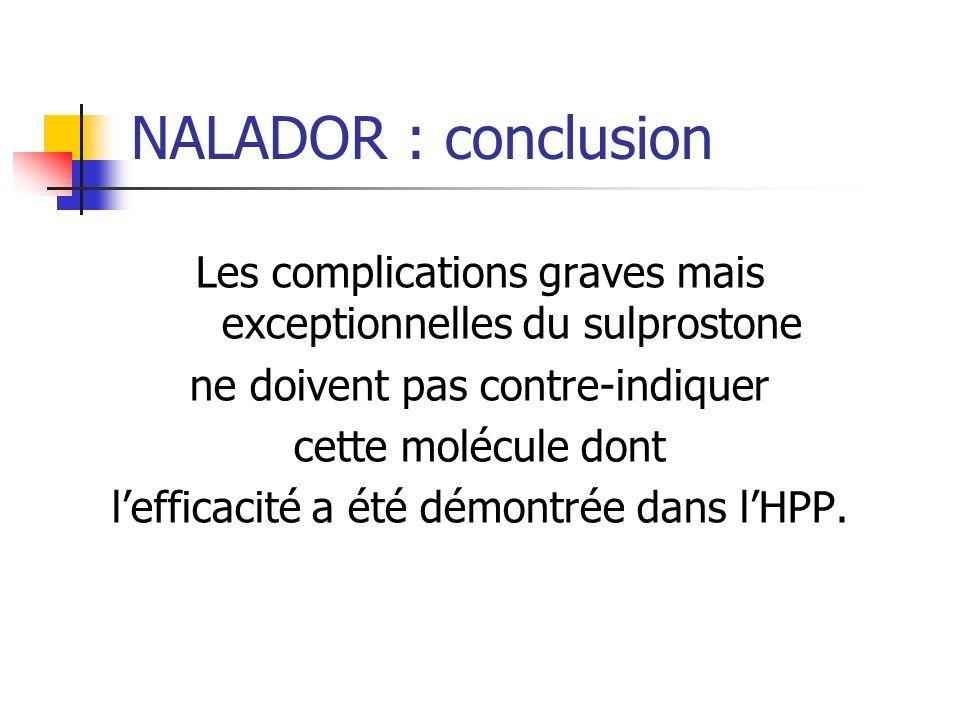 NALADOR : conclusion Les complications graves mais exceptionnelles du sulprostone ne doivent pas contre-indiquer cette molécule dont lefficacité a été