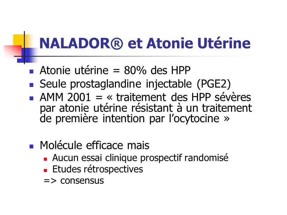 NALADOR® et Atonie Utérine Atonie utérine = 80% des HPP Seule prostaglandine injectable (PGE2) AMM 2001 = « traitement des HPP sévères par atonie utér