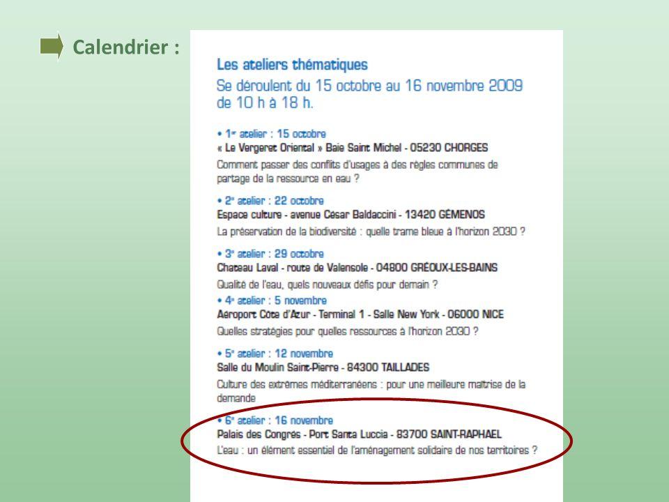 Calendrier :