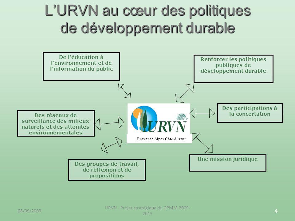 08/09/2009 URVN - Projet stratégique du GPMM 2009- 2013 4 LURVN au cœur des politiques de développement durable Provence Alpes Côte dAzur Renforcer le