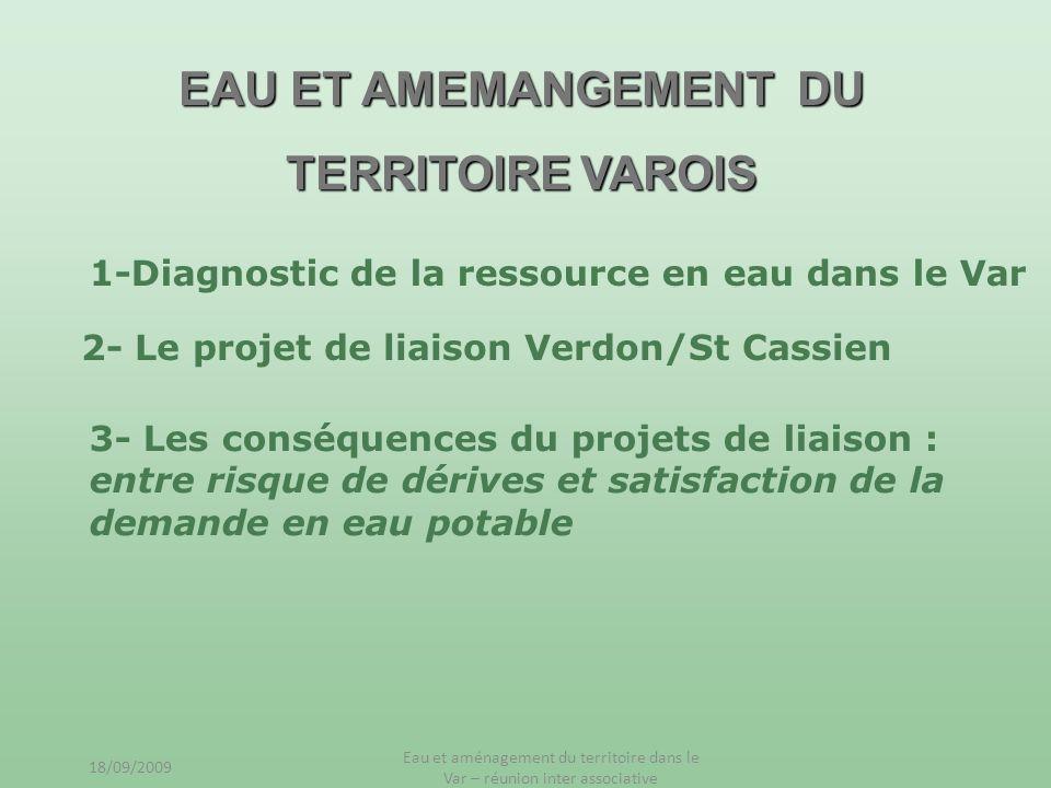 EAU ET AMEMANGEMENT DU TERRITOIRE VAROIS 1-Diagnostic de la ressource en eau dans le Var 2- Le projet de liaison Verdon/St Cassien 3- Les conséquences