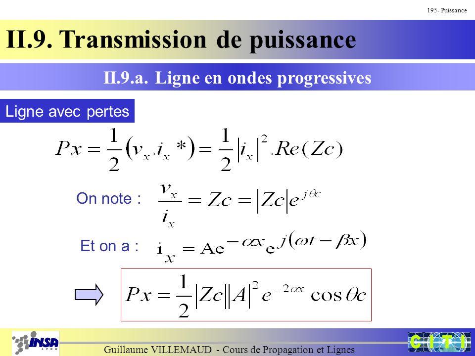 Guillaume VILLEMAUD - Cours de Propagation et Lignes 195- Puissance II.9. Transmission de puissance II.9.a. Ligne en ondes progressives Ligne avec per