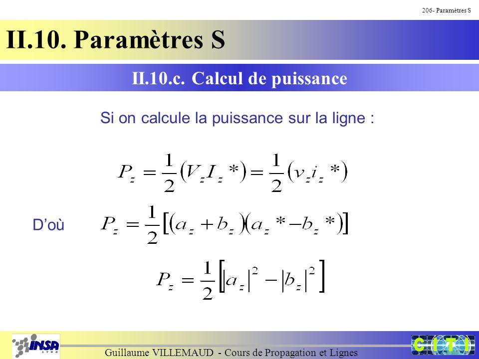 Guillaume VILLEMAUD - Cours de Propagation et Lignes 206- Paramètres S II.10. Paramètres S Si on calcule la puissance sur la ligne : II.10.c. Calcul d