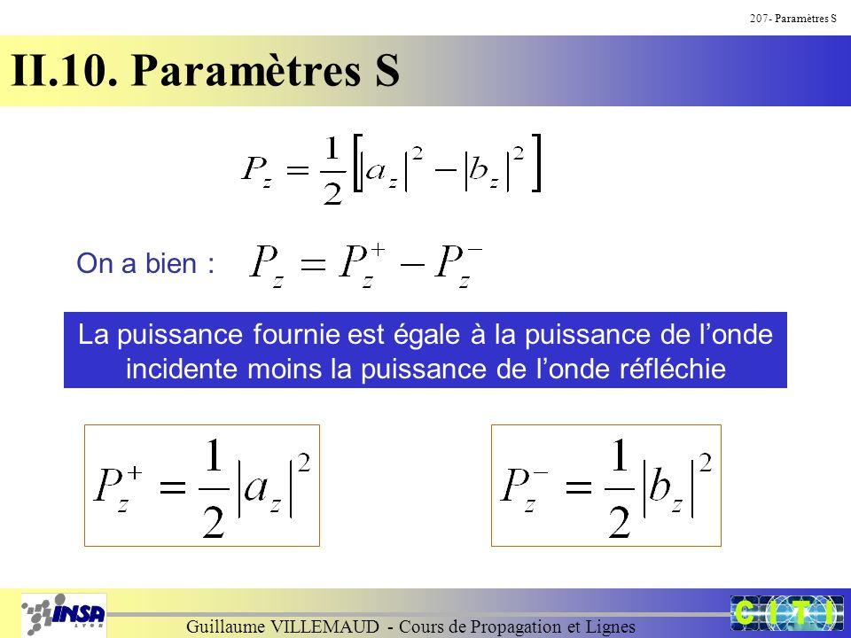 Guillaume VILLEMAUD - Cours de Propagation et Lignes 207- Paramètres S II.10. Paramètres S On a bien : La puissance fournie est égale à la puissance d