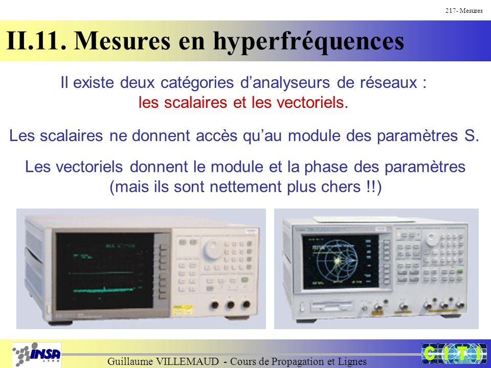 Guillaume VILLEMAUD - Cours de Propagation et Lignes 217- Mesures II.11. Mesures en hyperfréquences Il existe deux catégories danalyseurs de réseaux :