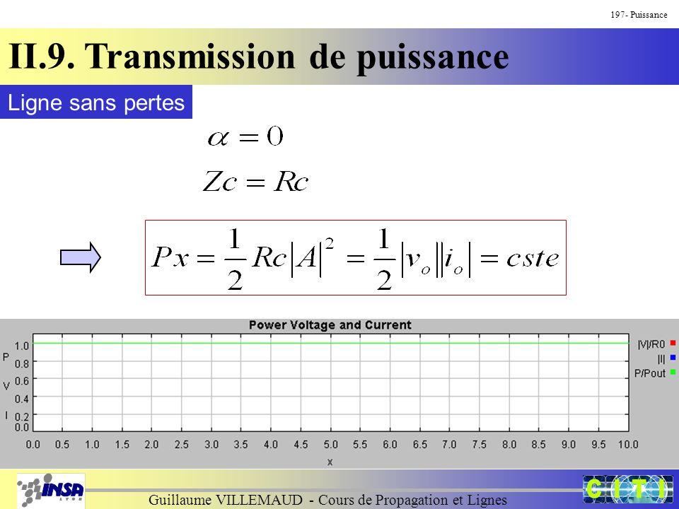 Guillaume VILLEMAUD - Cours de Propagation et Lignes 197- Puissance II.9. Transmission de puissance Ligne sans pertes