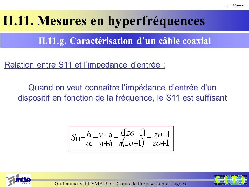 Guillaume VILLEMAUD - Cours de Propagation et Lignes 230- Mesures II.11. Mesures en hyperfréquences II.11.g. Caractérisation dun câble coaxial Relatio