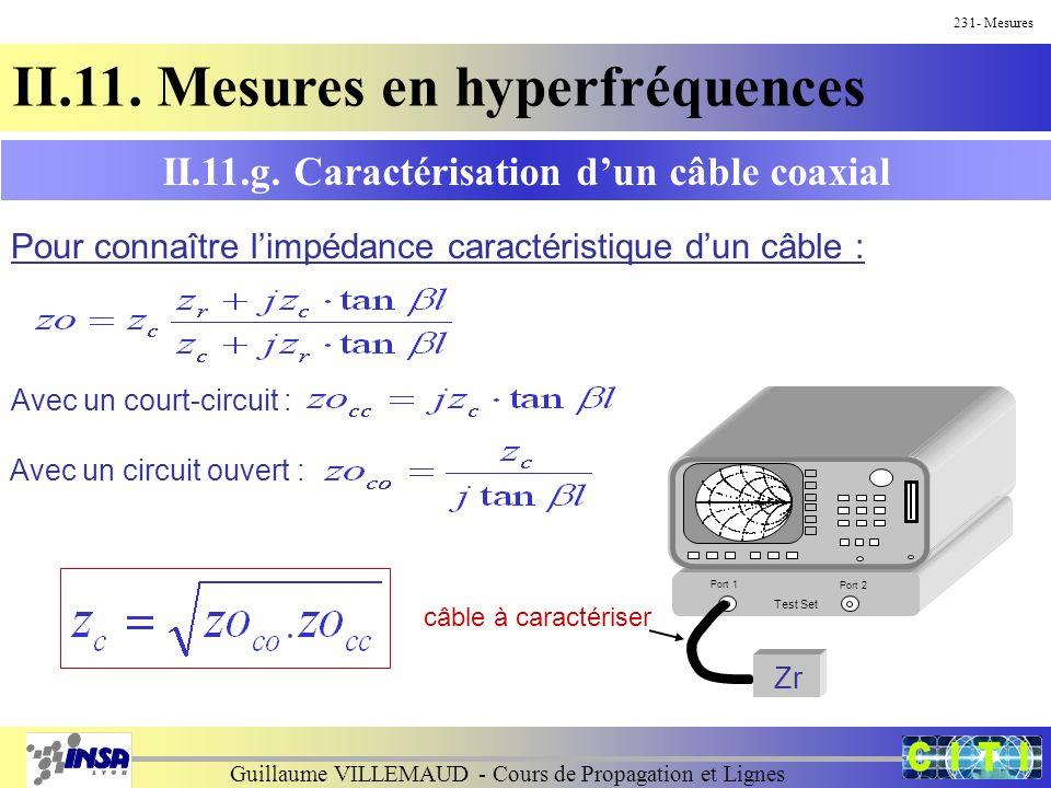 Guillaume VILLEMAUD - Cours de Propagation et Lignes 231- Mesures II.11. Mesures en hyperfréquences II.11.g. Caractérisation dun câble coaxial Pour co