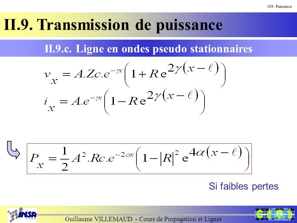 Guillaume VILLEMAUD - Cours de Propagation et Lignes 199- Puissance II.9. Transmission de puissance II.9.c. Ligne en ondes pseudo stationnaires Si fai
