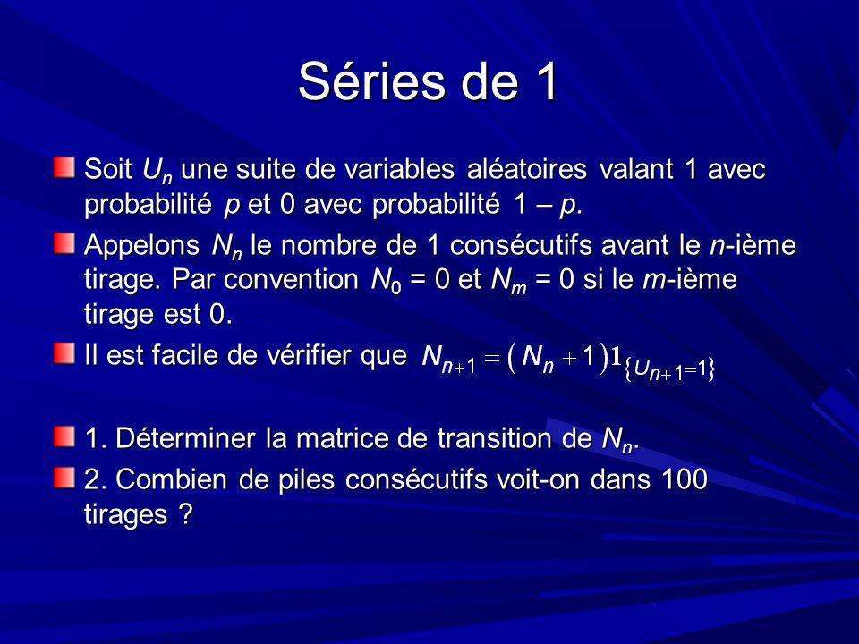 Séries de 1 Soit U n une suite de variables aléatoires valant 1 avec probabilité p et 0 avec probabilité 1 – p.