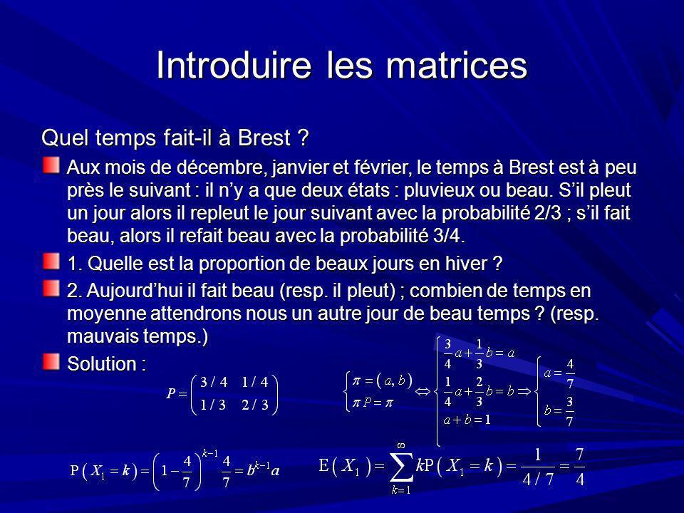 Références Dartmouth College, Introduction to probability, AMS sd http://www.dartmouth.edu/~chance/teaching_aids/books_articles/probability_book/book.html (+ programmes Mathematica, Maple V, Basic) Benaïm Michel, El Karoui Nicole, Promenade Aléatoire, Éd.