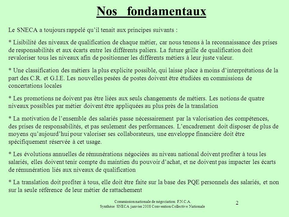 Commission nationale de négociation F.N.C.A. Synthèse SNECA janvier 2008 Convention Collective Nationale 2 Le SNECA a toujours rappelé quil tenait aux