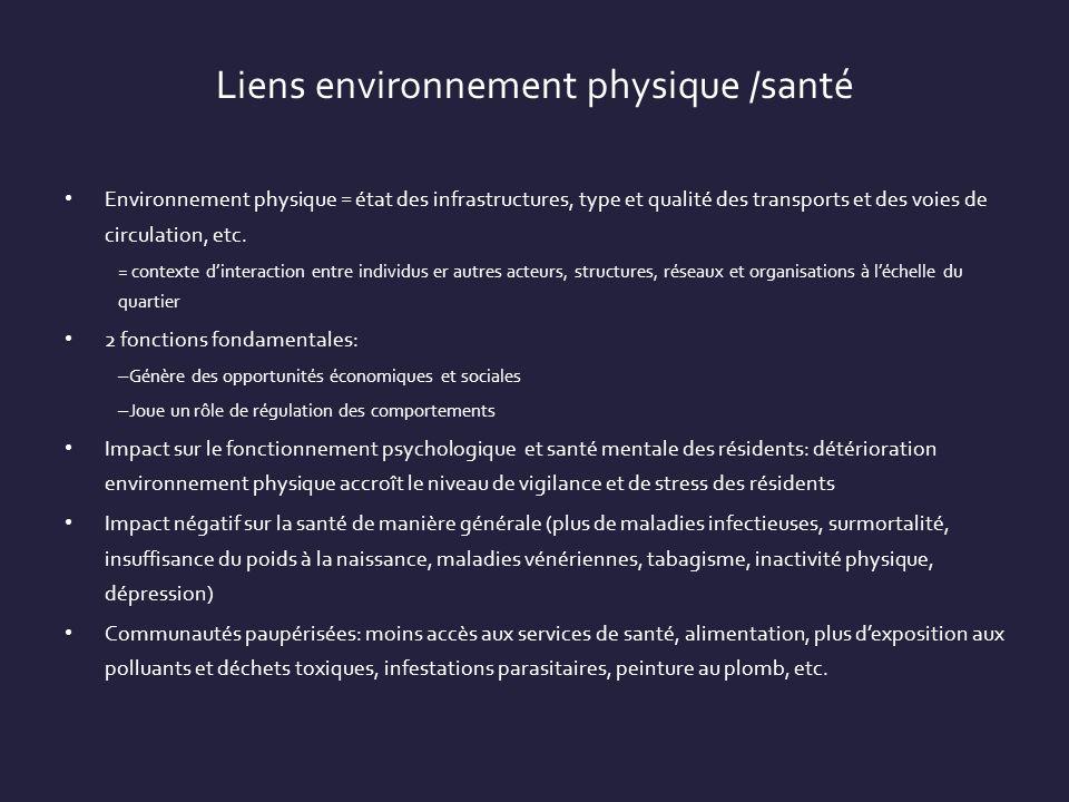 Liens environnement physique /santé Environnement physique = état des infrastructures, type et qualité des transports et des voies de circulation, etc