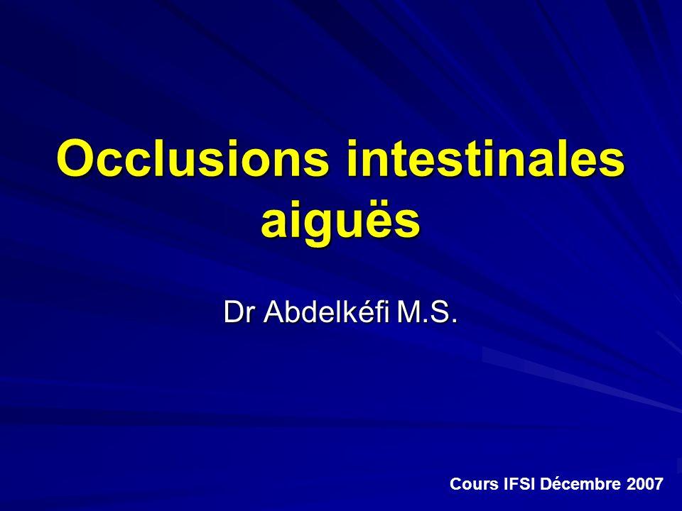 Occlusions intestinales aiguës Dr Abdelkéfi M.S. Cours IFSI Décembre 2007