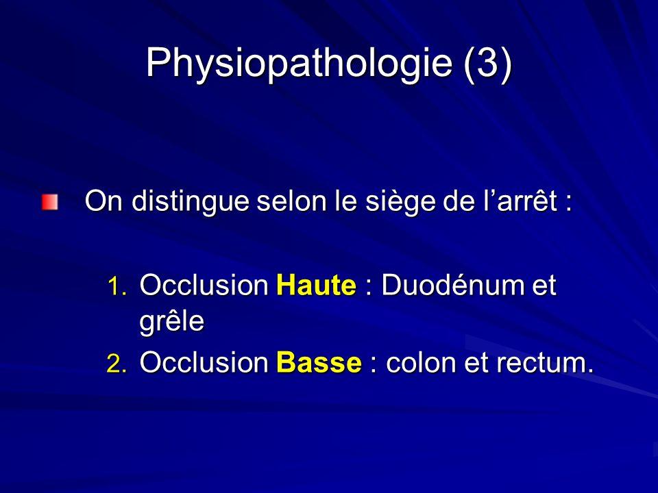 Physiopathologie (3) On distingue selon le siège de larrêt : 1. Occlusion Haute : Duodénum et grêle 2. Occlusion Basse : colon et rectum.