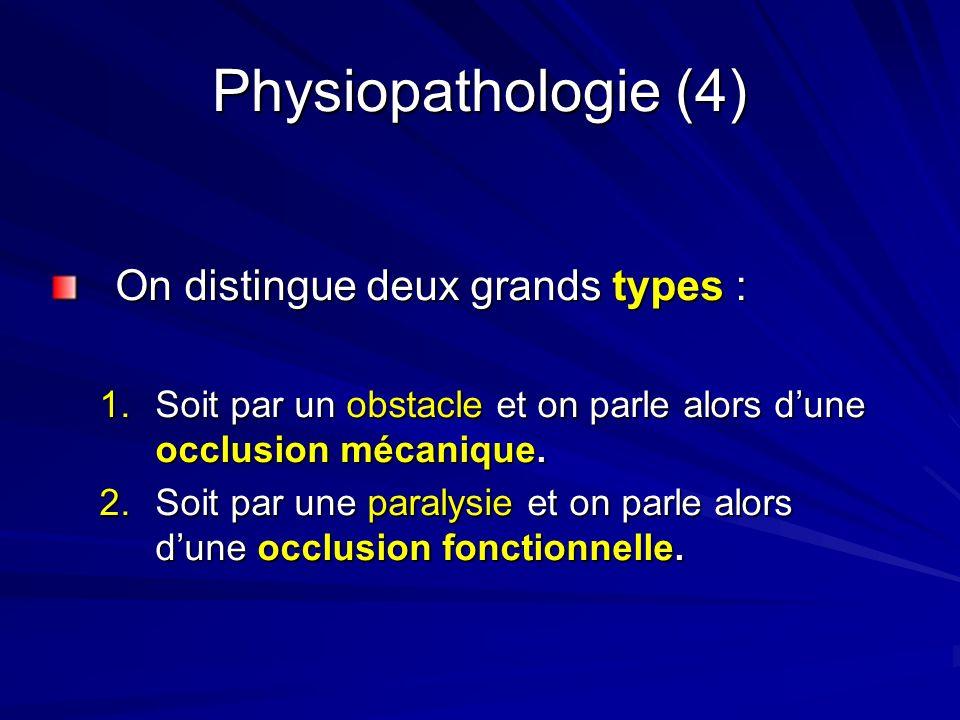 Physiopathologie (4) On distingue deux grands types : 1.Soit par un obstacle et on parle alors dune occlusion mécanique. 2.Soit par une paralysie et o
