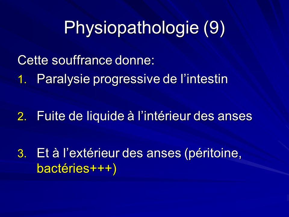 Physiopathologie (9) Cette souffrance donne: 1. Paralysie progressive de lintestin 2. Fuite de liquide à lintérieur des anses 3. Et à lextérieur des a