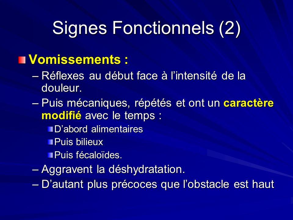 Signes Fonctionnels (2) Vomissements : –Réflexes au début face à lintensité de la douleur. –Puis mécaniques, répétés et ont un caractère modifié avec
