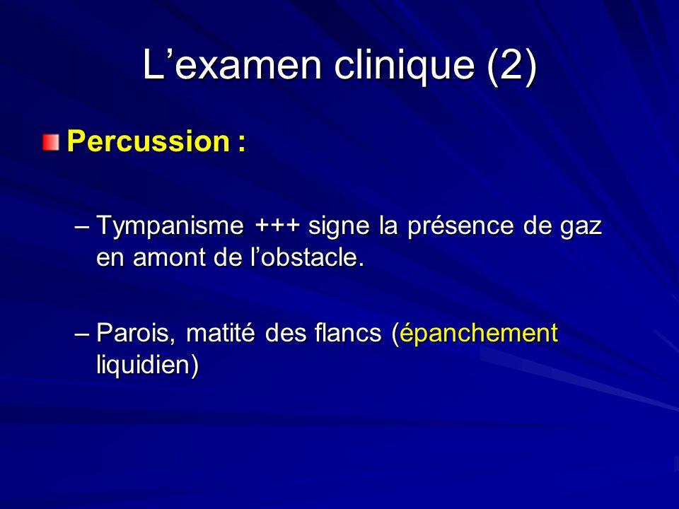 Lexamen clinique (2) Percussion : –Tympanisme +++ signe la présence de gaz en amont de lobstacle. –Parois, matité des flancs (épanchement liquidien)