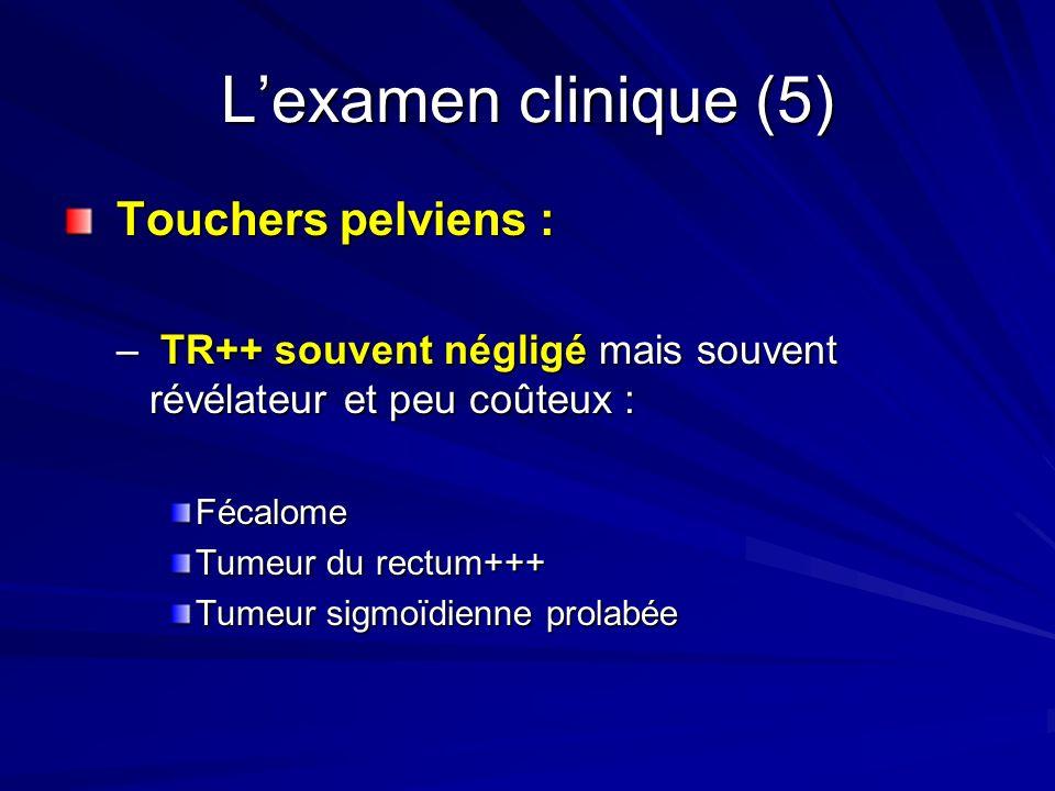 Lexamen clinique (5) Touchers pelviens : Touchers pelviens : – TR++ souvent négligé mais souvent révélateur et peu coûteux : Fécalome Tumeur du rectum