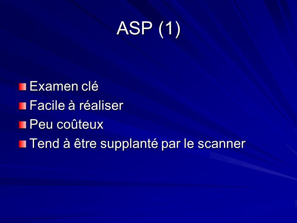 ASP (1) Examen clé Facile à réaliser Peu coûteux Tend à être supplanté par le scanner