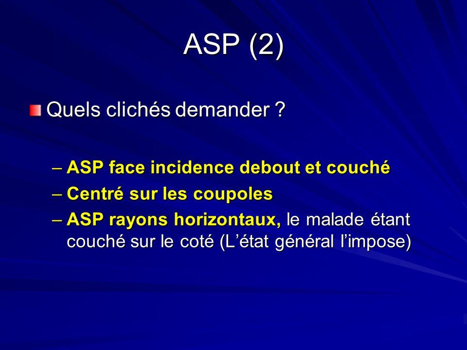 ASP (2) Quels clichés demander ? –ASP face incidence debout et couché –Centré sur les coupoles –ASP rayons horizontaux, le malade étant couché sur le