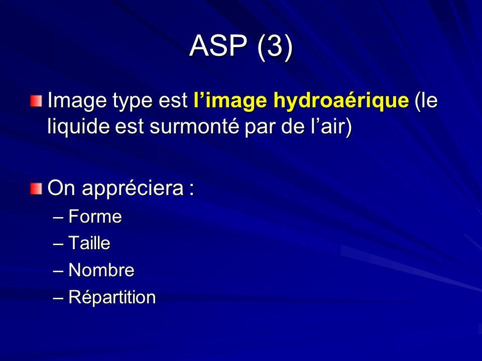 ASP (3) Image type est limage hydroaérique (le liquide est surmonté par de lair) On appréciera : –Forme –Taille –Nombre –Répartition