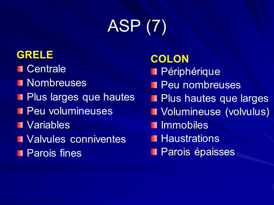 ASP (7) GRELE Centrale Nombreuses Plus larges que hautes Peu volumineuses Variables Valvules conniventes Parois fines COLON Périphérique Peu nombreuse