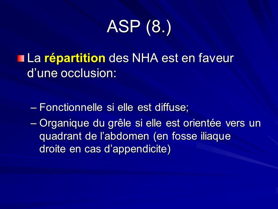 ASP (8.) La répartition des NHA est en faveur dune occlusion: –Fonctionnelle si elle est diffuse; –Organique du grêle si elle est orientée vers un qua