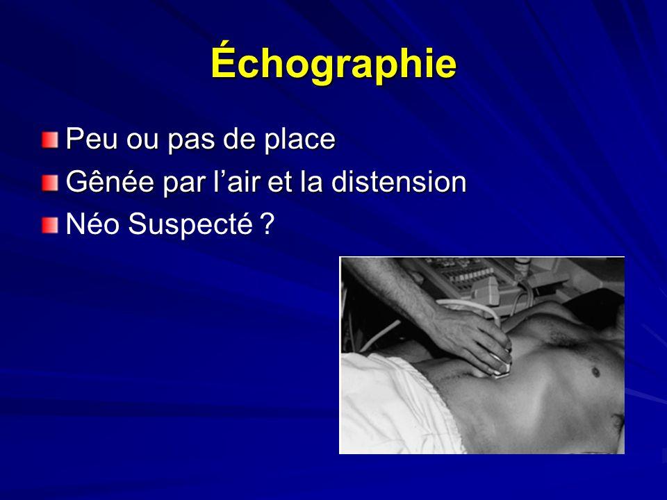 Échographie Peu ou pas de place Gênée par lair et la distension Néo Suspecté ?