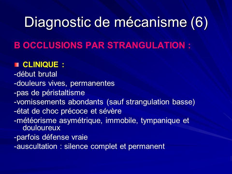 Diagnostic de mécanisme (6) B OCCLUSIONS PAR STRANGULATION : CLINIQUE : -début brutal -douleurs vives, permanentes -pas de péristaltisme -vomissements