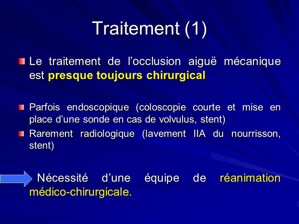 Traitement (1) Le traitement de locclusion aiguë mécanique est presque toujours chirurgical Parfois endoscopique (coloscopie courte et mise en place d