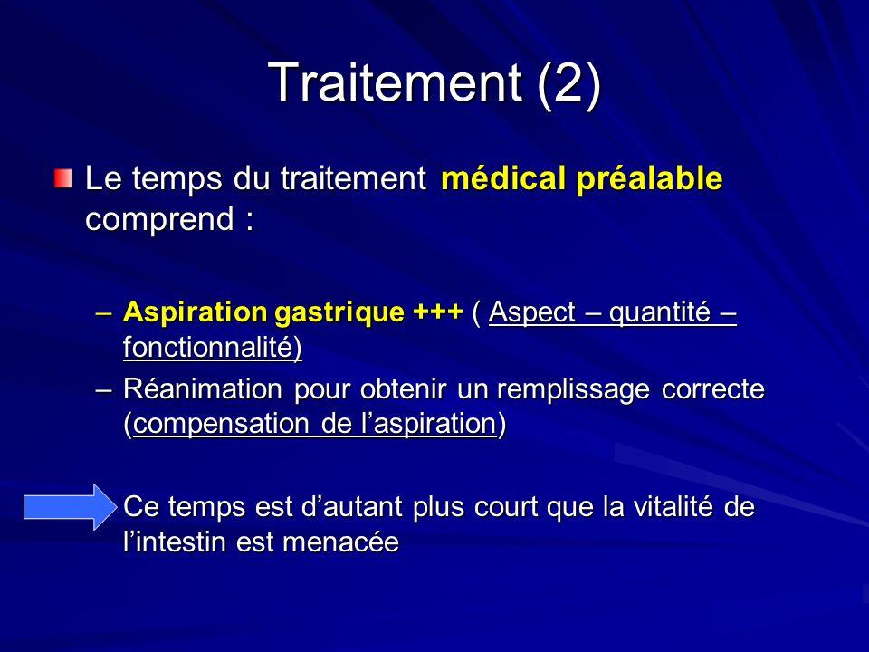 Traitement (2) Le temps du traitement médical préalable comprend : –Aspiration gastrique +++ ( Aspect – quantité – fonctionnalité) –Réanimation pour o