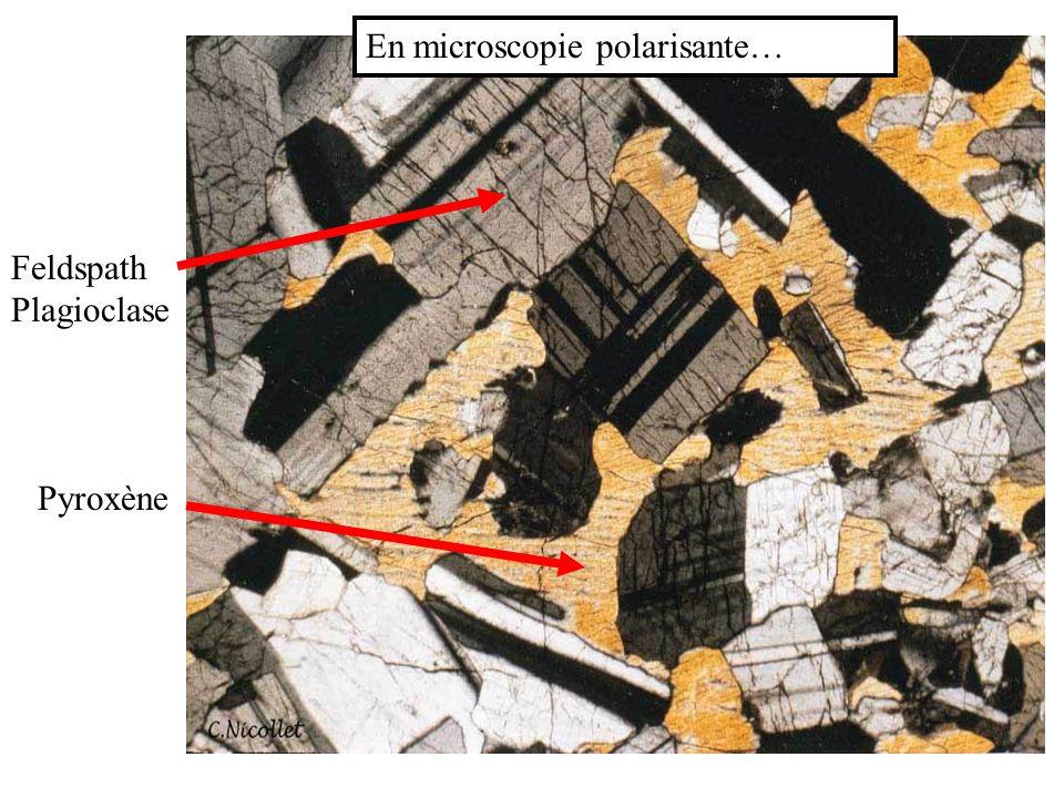 Feldspath Plagioclase Pyroxène En microscopie polarisante…