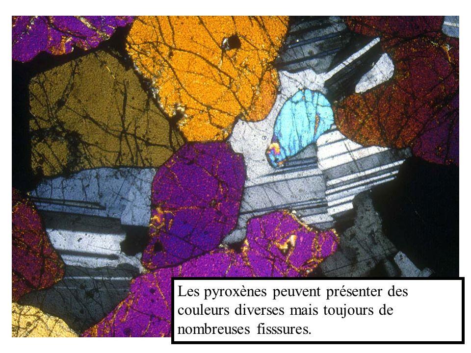 Les pyroxènes peuvent présenter des couleurs diverses mais toujours de nombreuses fisssures.