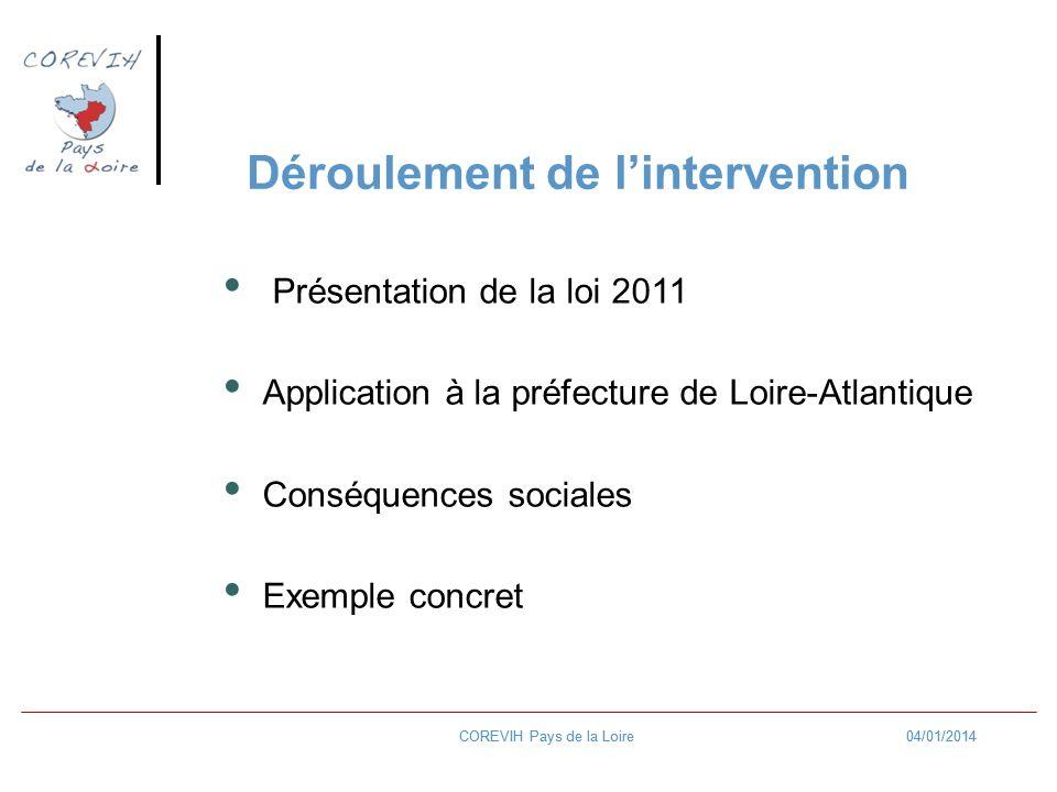 04/01/2014COREVIH Pays de la Loire04/01/2014COREVIH Pays de la Loire Présentation de la loi 2011 Application à la préfecture de Loire-Atlantique Conséquences sociales Exemple concret Déroulement de lintervention