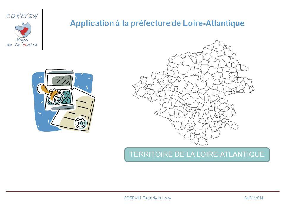 04/01/2014COREVIH Pays de la Loire Application à la préfecture de Loire-Atlantique TERRITOIRE DE LA LOIRE-ATLANTIQUE