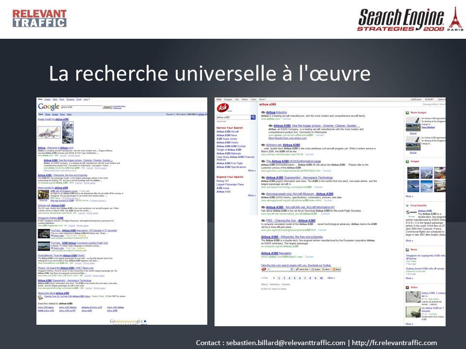 Contact : sebastien.billard@relevanttraffic.com | http://fr.relevantraffic.com La recherche universelle à l œuvre