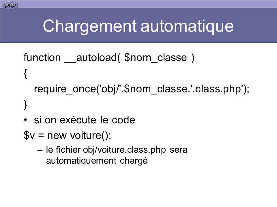 Chargement automatique function __autoload( $nom_classe ) { require_once('obj/'.$nom_classe.'.class.php'); } si on exécute le code $v = new voiture();