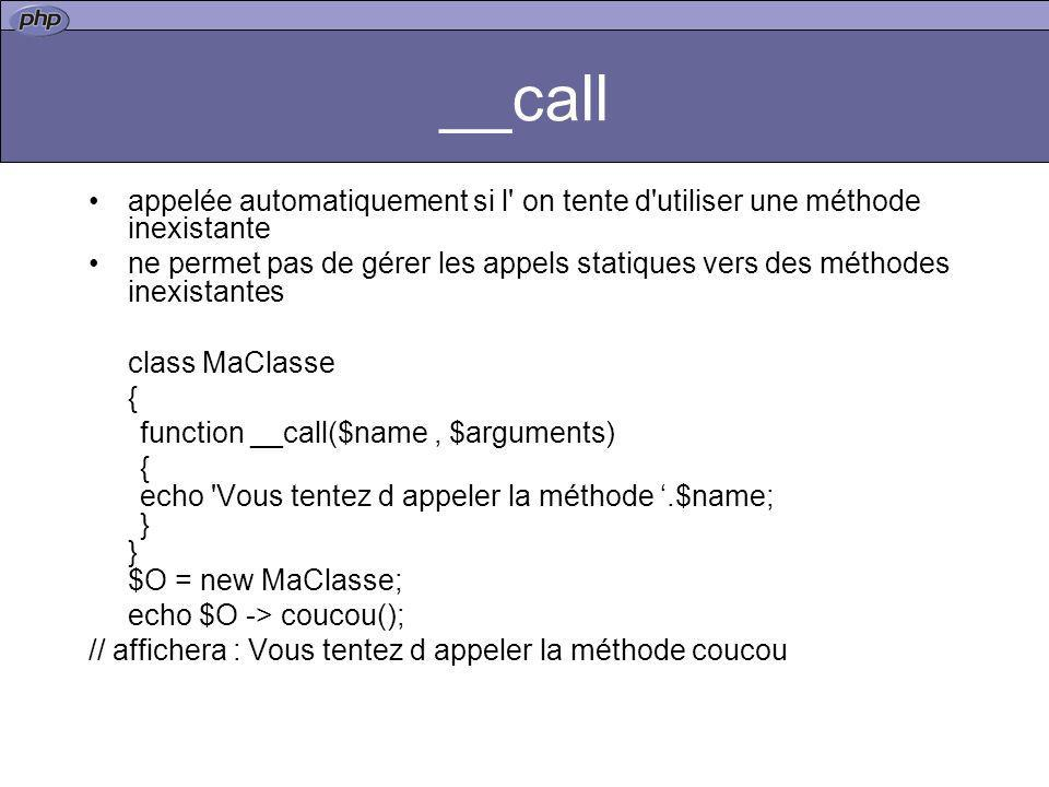 __call appelée automatiquement si l' on tente d'utiliser une méthode inexistante ne permet pas de gérer les appels statiques vers des méthodes inexist