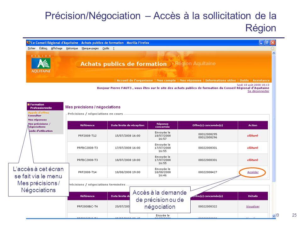 12 février 200925 Précision/Négociation – Accès à la sollicitation de la Région Laccès à cet écran se fait via le menu Mes précisions / Négociations Accès à la demande de précision ou de négociation