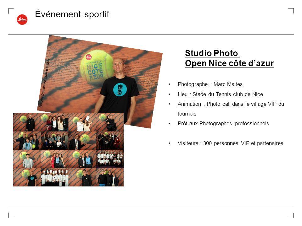 Événement sportif Studio Photo Open Nice côte dazur Photographe : Marc Maltes Lieu : Stade du Tennis club de Nice Animation : Photo call dans le villa