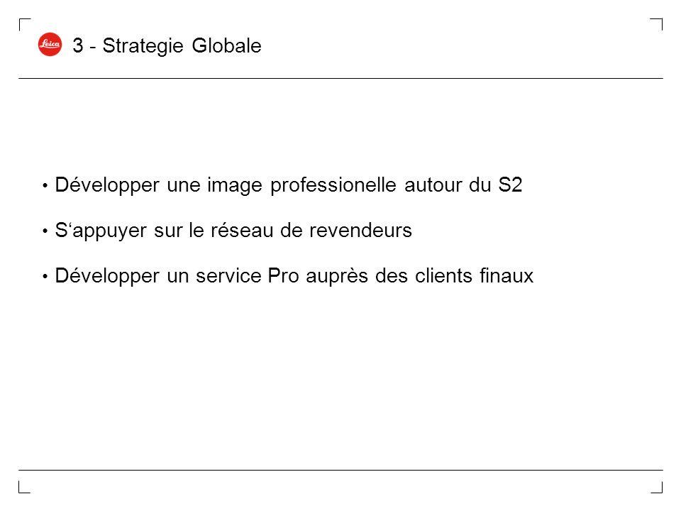 3 - Strategie Globale Développer une image professionelle autour du S2 Sappuyer sur le réseau de revendeurs Développer un service Pro auprès des clien